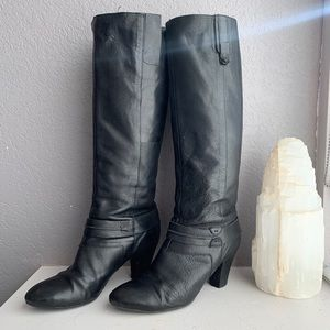 Nine West Black Leather Boots with strap